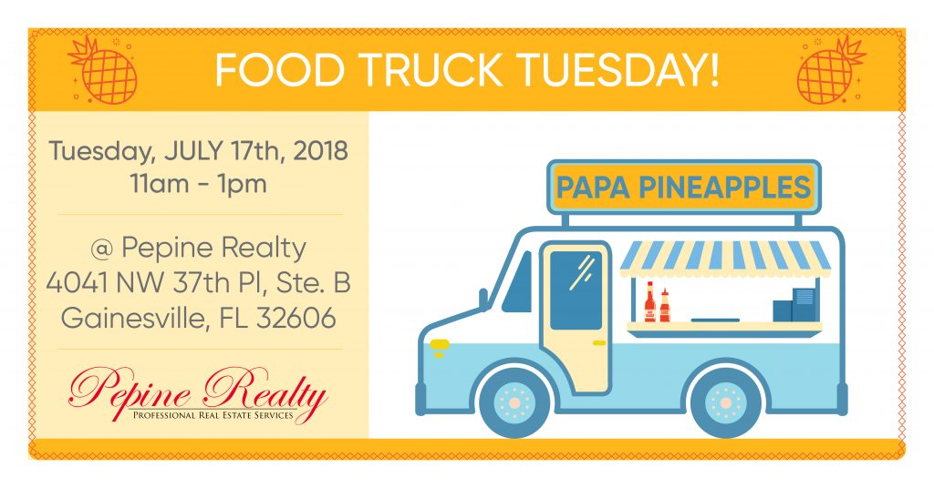 Papa Pineapples food truck at Pepine Realty in Gainesville
