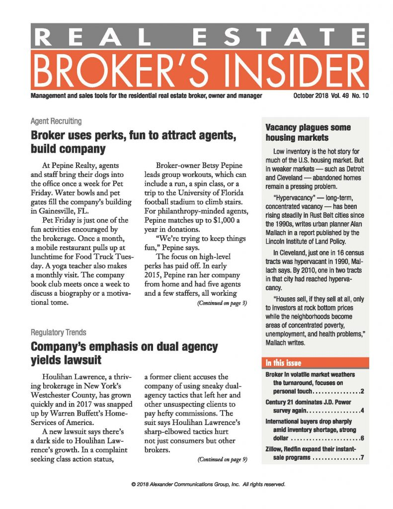 Betsy Pepine and Pepine Realty were featured in Real Estate Broker's Insider